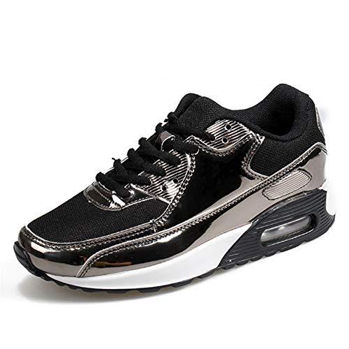 GUNAINDMX Zapatillas de tacón Ocultas Zapatos de Plataforma con cuñas Negras Casual Zapatos de Cordones con Cordones Zapatos de Mujer Black