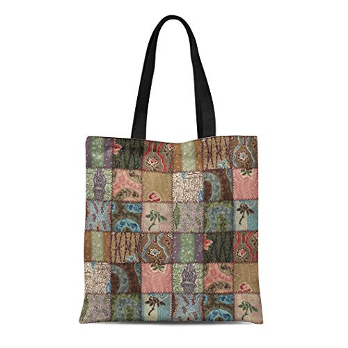 Semtomn Cotton Canvas Tote Bag Pattern Country Patchwork Quilt 3D Color Abstract Assorted Bedspread Reusable Shoulder Grocery Shopping Bags Handbag Printed