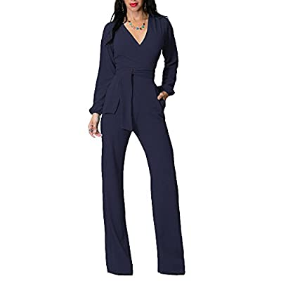 OLUOLIN Jumpsuits for Women Elegant Sexy V-Neck Long Sleeve Rompers Wide Leg with Belt Pockets