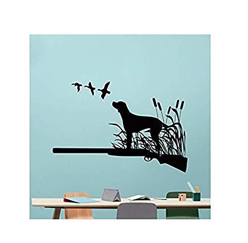 Wallpaper Vinyl Dog Wall Decal Removable Vinyl Gun Duck Wall Sticker Living Room Design Decor Hunter Wall Art Mural 84X57Cm (Best Duck Gun 2019)