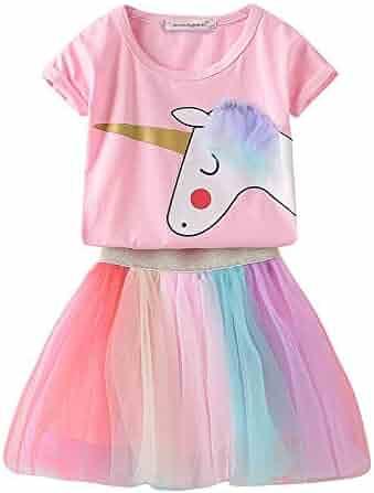 7554436e24 JerrisApparel Girls Unicorn Costume Birthday Party Outfit Rainbow Tutu  Skirt Set