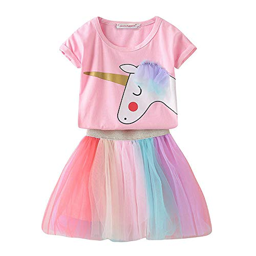 JerrisApparel Girls Unicorn Costume Birthday Party Outfit Rainbow Tutu Skirt Set (5, Pink)