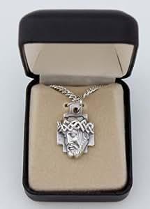 Fine Silver Tone 1 Inch Sorrowful Crown of Thorns Head of Jesus Christ