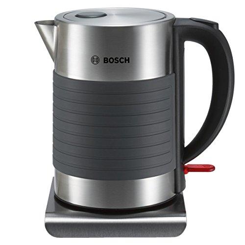 Bosch TWK7S05 Hervidor de agua de acero inoxidable y silicona antideslizante, 2200 W, capacidad de 1 7 litros
