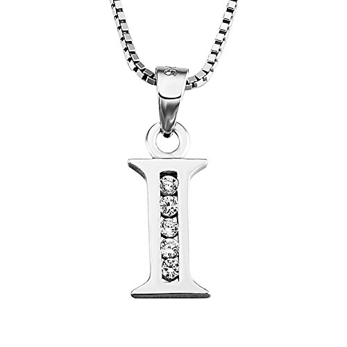 YFN S925 Sterling Silver Cubic Zirconia 26 Letters Alphabet Personalized Charm Pendant Necklace (Alphabet I)