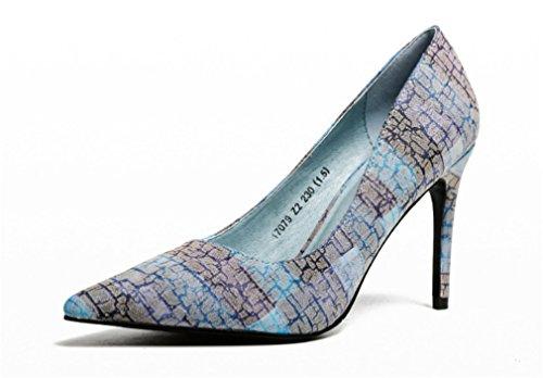 LUCKY CLOVER-A Sandals Pumps Women High Heels Satin Peep Toe Pumps Satin Bridal Party Court Shoes Gray Brown,EU37-40,Blue,EU36