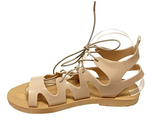 Stripes Bondage Slingback 56 Fresh Open Nude Sandals Toe Rubber 10 Forever Womens 0XHqwS0