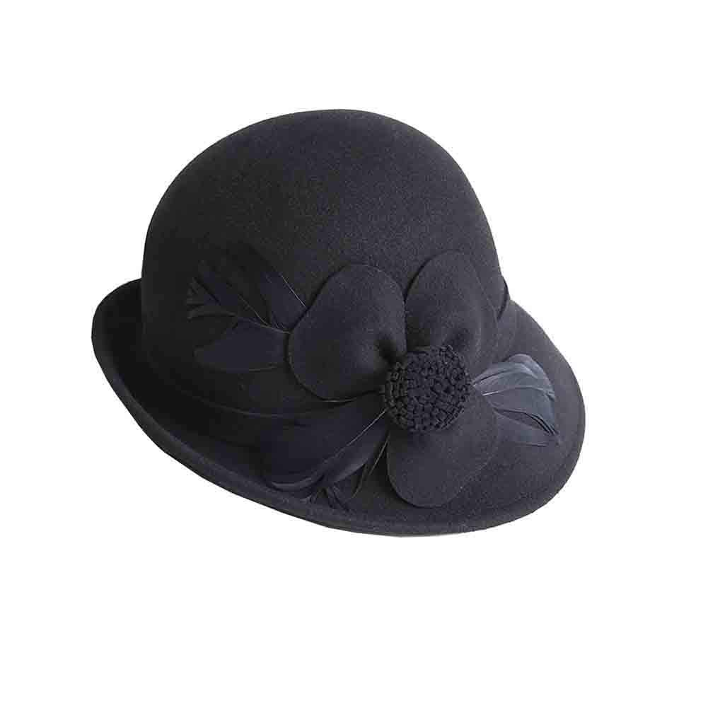 BLACK SUNNY Cloche Bucket Hats for Women,Bowler Church Hat Autumn and Winter Feather Flowers Decoration, Adjustable Head Circumference (color   Purple)