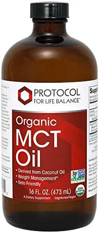 Protocol For Life Balance - Organic MCT Oil - 100% Pure to Support Weight Management, Enhanced Energy Production & Metabolic Activity, Derived from Coconut Oil, Keto Friendly - 16 fl. oz. (473 mL)