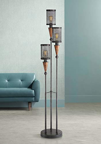 Hunter Modern Industrial Floor Lamp 3-Light Oil Rubbed Bronze Painted Wood for Living Room Reading Bedroom ()