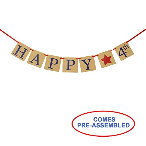 (Happy 4th Banner - Rustic Fourth of July Decorations - America Independence Day Party Photo Prop)