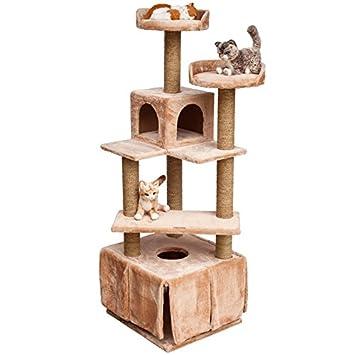 PET Árbol de Lujo para Gatos Anneke, Juguete rascador para felinos, casa para Animales domésticos, Altura 160 cm, marrón Claro: Amazon.es: Jardín