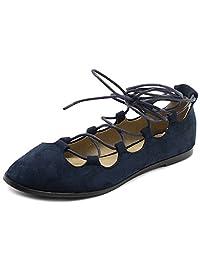 Ollio Women's Shoe Light Comfort Faux Suede Lace Up Ghillie Ballet Flats