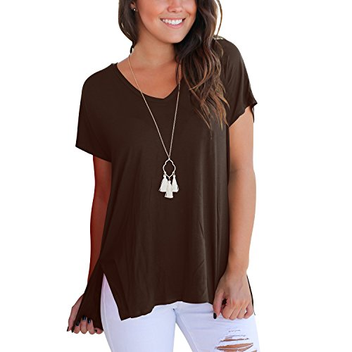 ual V Neck Summer Tee Shirt High Low Loose T-Shirt Tops with Side Split (Coffee,XL) ()