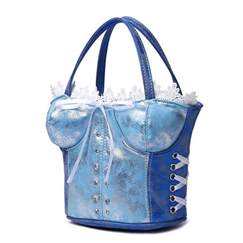 Sexy Lace Trim Corset Shaped Crossbody bags with Bow (Blue) (Lace Trim Corset Bows)