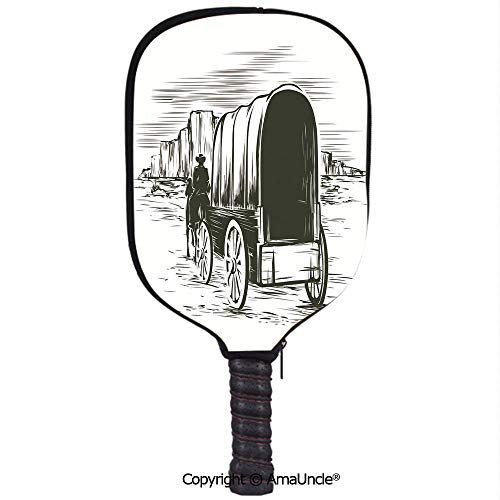 SCOXIXI Customized Racket Cover, Stylish Old Traditional Wagon Wild West Prairies Pioneer on Horse Transportation Cart DecorativeRacket Cover,Protect Your Pickleball Paddles