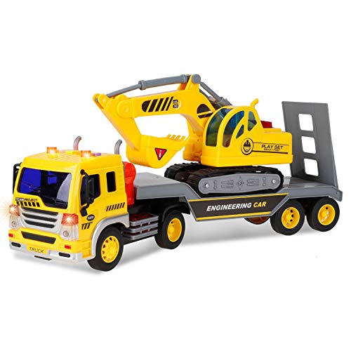 Liberty Imports 2-in-1 Friction Powered Flatbed Truck with Excavator Tractor - Push and Go Construction Toy for Kids with Lights and Sounds - Realistic 1:16 Scale Vehicle