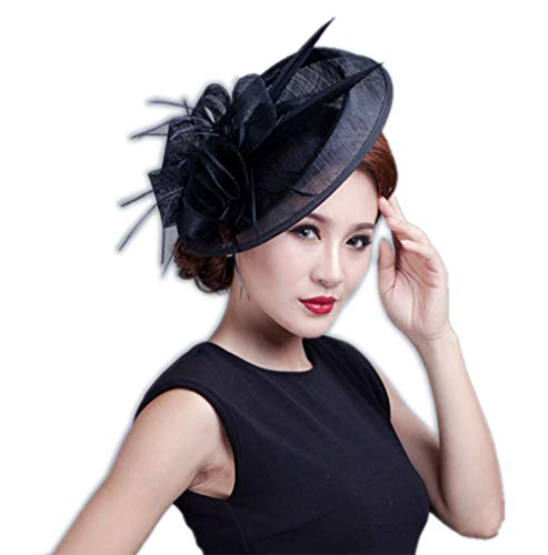 (YSJOY Classic Veil Mesh Feather Fascinator Big Kentucky Derby Hat Polka Dot Rose Flower Bridal Shower Hat Wedding Tea Party Hat Black)