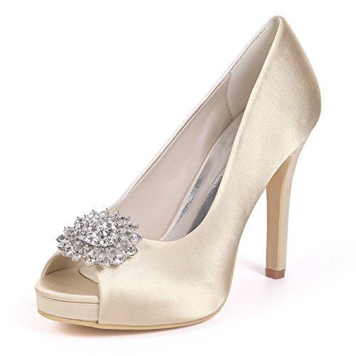 Corte Zapatos yc Punta Mujeres Rhinestones Champagne Nupcial Las La De Toe Satén Prom zapatos Tacones Altos Boda Plataforma L peep SW6gq5S