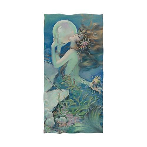 Elizadaisy Mermaid Holding Pearl Premium Oversized 64 x 32 Inch Bath Towel Hotel & Spa Quality Microfiber Bath Sheet No Fading Multipurpose Use for Bathroom, Gym, Sports, ()
