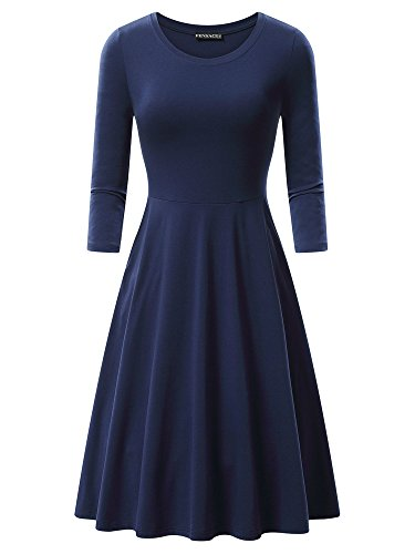 FENSACE Midi A Cotton Dress Casual with Pockets line Sleeves 4 Navy 3 Womens rwAFvxqr