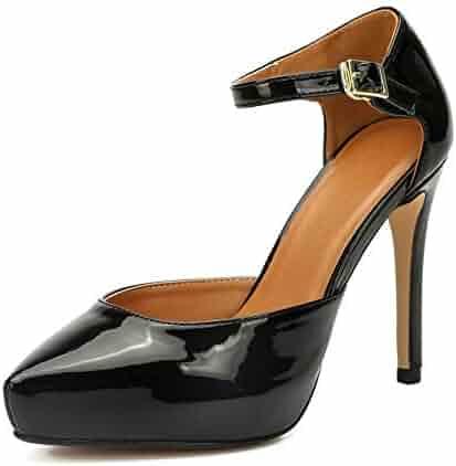 8ee19693cc2 LIURUIJIA Women s Ankle Strap Heels D Orsay with Hidden Platform Stilettos  Closed Pointed Toe Dress
