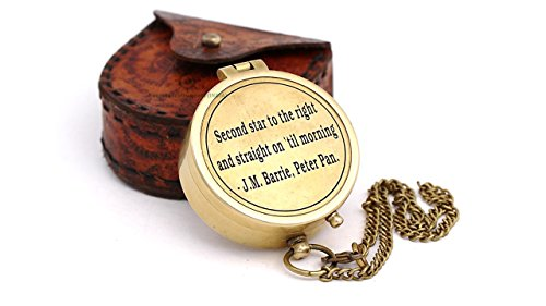 Second Star to the Right J. M. Barrie, Peter Pan Engraved Brass Compass with Leather Case