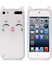 iPod Touch 7 Case, iPod Touch 5,6 Case, Fashion Cute 3D White Meow Party Cat Kitty Kids Girls Lady Protective Cases Soft Case Skin for Apple iPod Touch 5,6th and iPod Touch 7