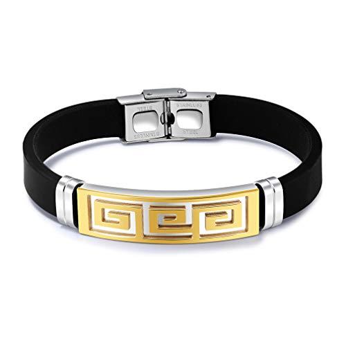 Korean Version of The New Personality Men's Bracelet Great Wall Pattern Titanium Steel Bracelet (Gold)