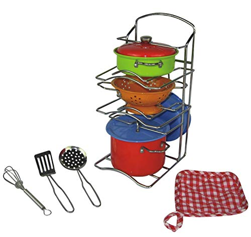 Oojami 11 Pcs Pretend Play Kitchen Cookware Set Steel Pots and Pans