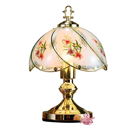 Collections Etc Hummingbird Desk Tabletop Touch Lamp with Gold Base and Accents, 3 Light Settings