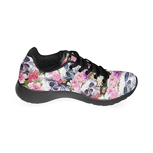 InterestPrint Womens Jogging Running Sneaker Lightweight Go Easy Walking Comfort Sports Athletic Shoes Human Skulls With Flowers 58dfdUfIBy