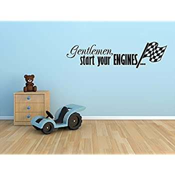 gentleman start your engines with checkered flag racing race cars vinyl wall decal sticker boys kids
