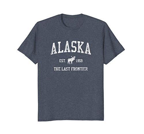 Mens Alaska T-Shirt Vintage Sports Design Alaskan Moose Tee Medium Heather (Alaska Tee)