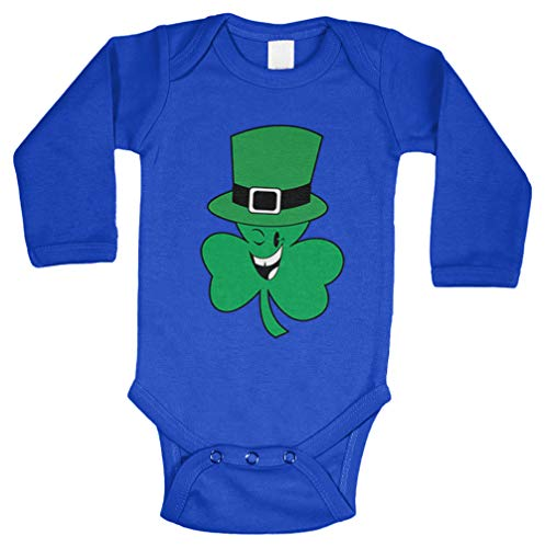 Tcombo Shamrock with Hat - Leprechaun Irish Long Sleeve Bodysuit (Royal Blue, 12 Months) ()