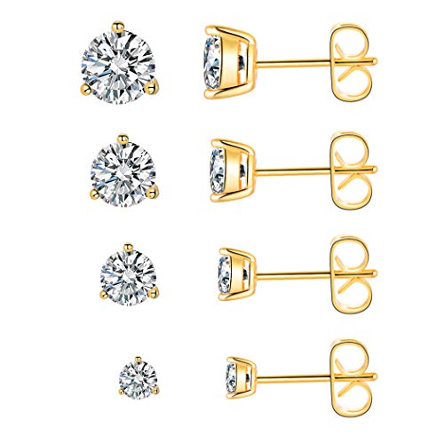 4 Pairs Stud Earrings 18K Yellow Gold Plated Cubic Zirconia Earring Set Size 3-6mm Simulated Diamond CZ Studs for Women Men Teen with Sensitive - Set Diamond Boys