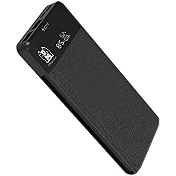 Portable Power Bank MEZONE Real 10000mAh Quick Charge 3.0 with 2-USB Ports, LCD Digital Screen, External Battery Charger for iPhone iPad Samsung Smart Phone Tablet (Black)
