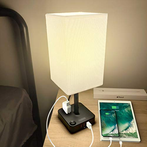 COZOO USB Bedside Table & Desk Lamp with 3 USB Charging Ports and 2 Outlets Power Strip,Black Charger Base with White Fabric Shade, LED Light for Bedroom/Nightstand/Living Room