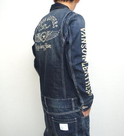 (バンソン) VANSON デニムつなぎ服 ツナギ NVAO-301 フライングスター 刺繍 オールインワン ワンウォッシュ XXLサイズ有 インディゴA色 B00NARLAI6 サイズS