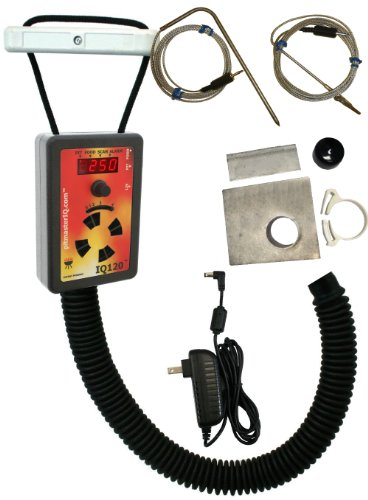 IQ120 BBQ Temperature Regulator Kit with Large Adjustable Kamado Pit Adapter for Big Green Egg (Medium, Large, XL, XXL), Primo (all sizes), Kamado Joe (Classic, Big Joe), and Many Other Kamados by pitmasterIQ