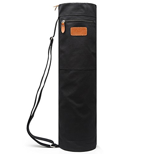 Elenture Full-Zip Exercise Yoga Mat Carry Bag with Multi-Functional Storage Pockets (Black)