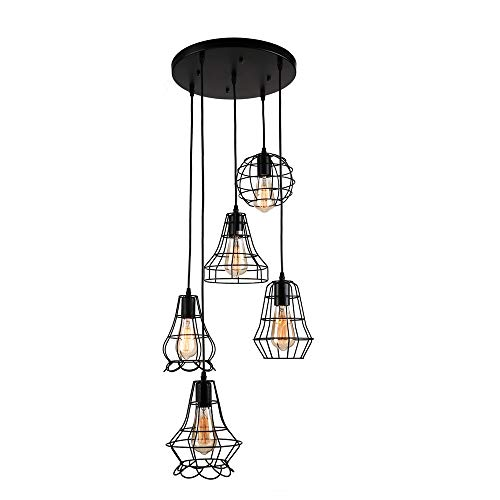 Industrial Set of Cage Lighting Fixture -LITFAD Rustic Barn Metal Chandelier Max 200w with 5 Cage Lights Black Finish,Vintage Creative Pendant Light ()