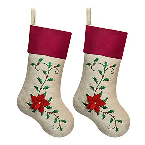 "Ivenf 18"" Large Christmas Stockings Personalized, 3D Flowers Pattern, Cotton Burlap with Embroidery Holly Leaves, for Family Holiday Decorations, Red and Green(2 Pack)"