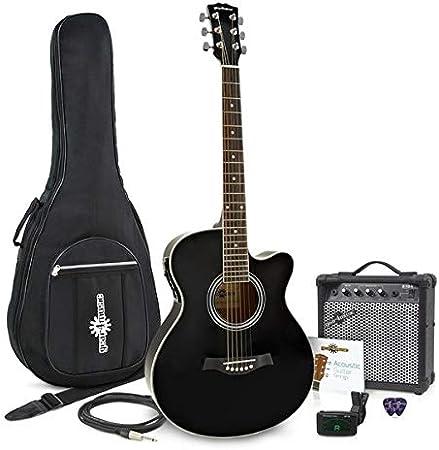 Guitarra Electroacústica de Cutaway Individual + Paquete de Ampli de 15 WNegro