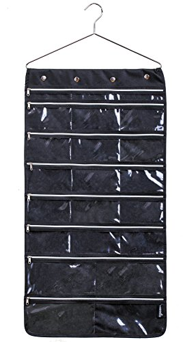Misslo 44 Pockets Oxford Hanging Jewelry Organizer with Zipper Hanger, Black