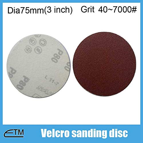 Maslin 100pcs hook and loop sanding discs for metal polishing Dia75mm(3 inch) grit 40~7000# TF003 - (Grit: 7000)