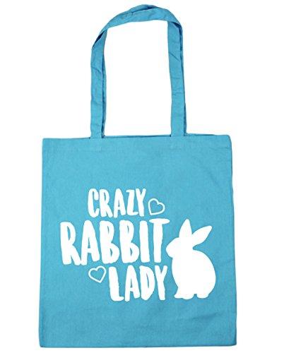 HippoWarehouse Crazy rabbit lady Tote Shopping Gym Beach Bag 42cm x38cm, 10 litres Surf Blue
