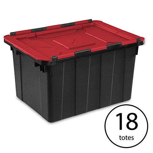 Lid Hinged - Sterilite 12 Gallon/45 Liter Hinged Lid Industrial Tote, Red Lid (18 Pack)