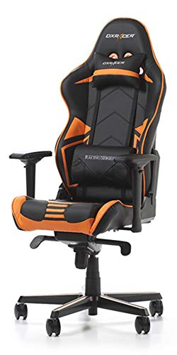 DXRacer USA Racing Series RV131 Gaming Chair Computer Chair Office Chair Ergonomic Design Swivel Tilt Recline Adjustable with Angle Lock, Includes Headrest Pillow and Lumbar Cushion (Orange) (Best Gaming Desk Chair 2019)