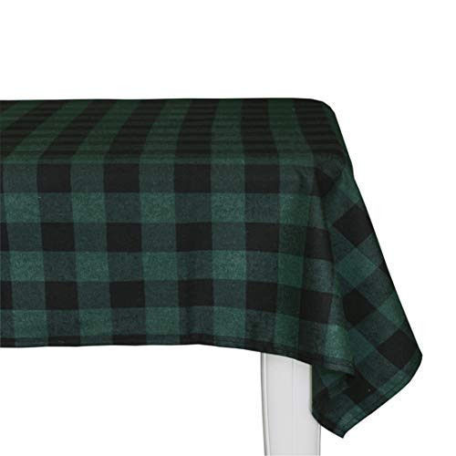 (Wemay Cotton Buffalo Check Plaid Square Tablecloth for Family Dinners or Gatherings, Indoor or Outdoor Parties, Everyday Use (54-Inch X 54-Inch,Seats 4 People, Black &)